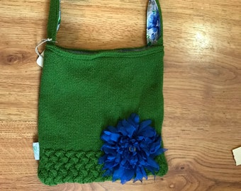 Green sweater purse blue flower