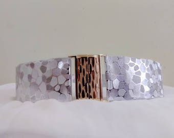 Silver pu leather belt, Metallic stretch belt, Adjustable belt, Wedding belt, Bridal belt, Bridal gown belt, Wedding dress belt, Women belt