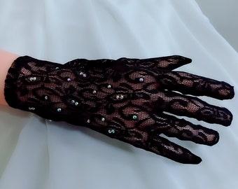 Dark blue floral gloves, Rhinestone gloves, Lace gloves, Wedding gloves, Short gloves, Bridal gloves, Formal gloves, Evening gloves, Mittens