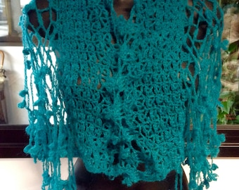 crocheted wool shawl, long flowering fringes, blue crochet scarf, neck warmer, green mohair octane