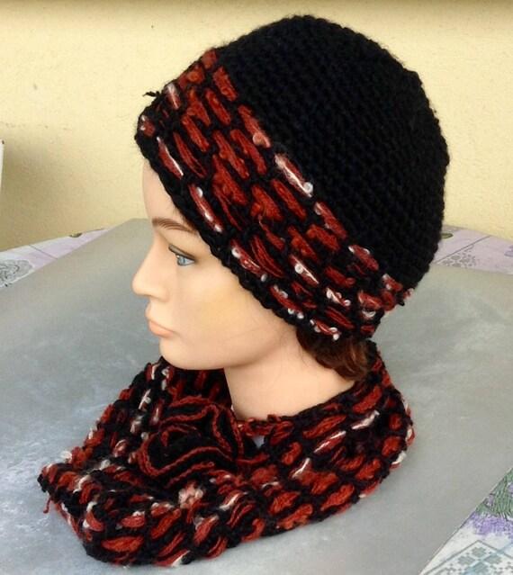 Runden häkeln Mütze und Schal in schwarz und braun wolle | Etsy
