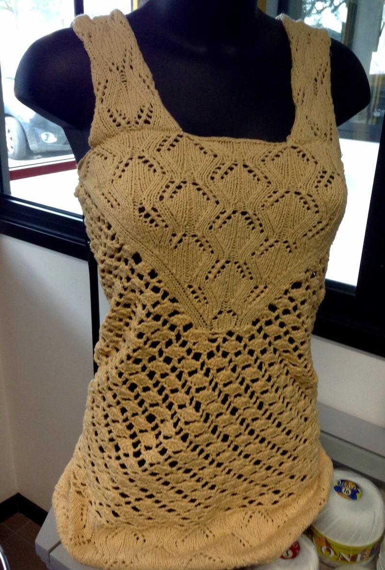 code promo vente de sortie mieux aimé Robe courte sans manches, mini-robe avec bretelles, coton couleur crème  avec dentelle au crochet, cover-up, une seule pièce