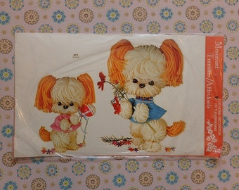 Vintage Meyercord Decal Transfer 'Two Woolly Puppies'