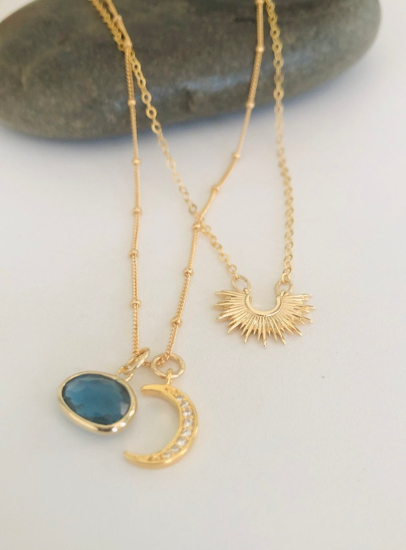 The Moon Will Light My Way Gold Montana Glass Pendant and Pave Crescent Moon Charm Necklace  Moon Charm Necklace