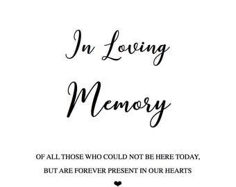 PRINTABLE Custom In Loving Memory Sign