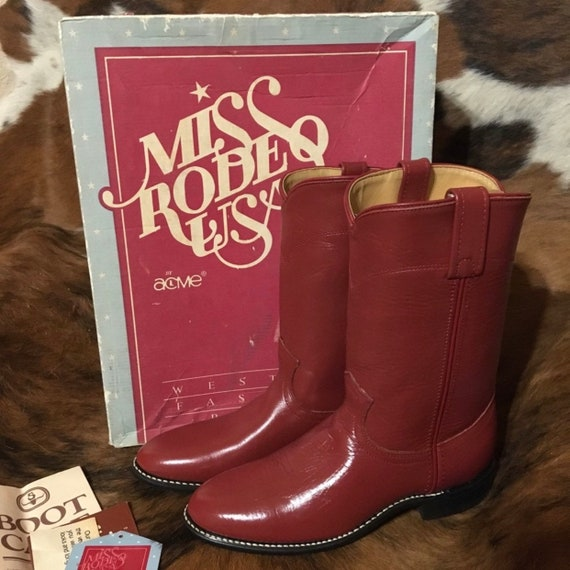 Acme Miss Rodeo USA Red Leather Cowboy Boots