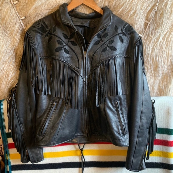Black 1990's Leather Rose & Fringe Moto Jacket