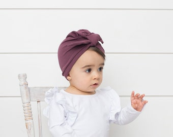 Infant Turban  baby turban   baby girl turban hat  knot turban  knotted  hat  knotted Turban  newborn turban hat  plum turban - Plum 25a1971f8e9