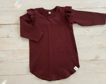 vintage baby girl mahogany dress viscose embroidered tunic 9 months old