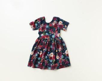 Dress/ kids dress/ baby girl dress/ baby dress/ modern dress/ toddler dress/ circle skirt dress/ floral dress/ open back - Navy Red Floral