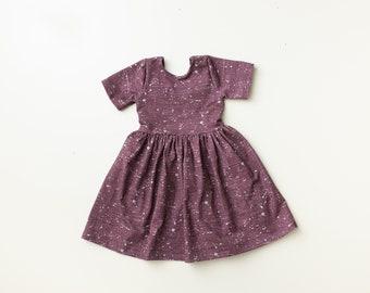 Dress/ kids dress/ baby girl dress/ baby dress/ modern dress/ toddler dress/ circle skirt dress/ dress/ open back - Purple Paint splatter