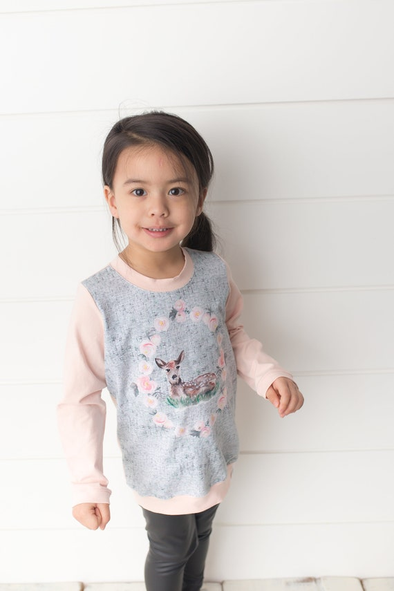 Crew neck Sweater crew neck Shirt pink sweater baby girl sweater pink toddler shirt Toddler sweater baby girl top Hand Painted Fawn