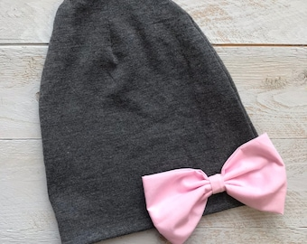 Slouch Beanie/ grey slouchy hat, pink big bow beanie/ big bow slouchy beanie/ baby girl hat/ baby girl beanie, baby beanie - Grey & Pink Bow