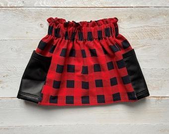 kids skirt/ toddler skirt/ trendy skirt/ skirt/ buffalo plaid skirt/ fashionable skirt/ plaid skirt/ red plaid skirt - paper bag skirt