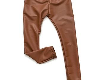 faux leather pants/ faux leather leggings/ baby girl leggings / toddler legging pants/ modern pants/ leather pants - Camel