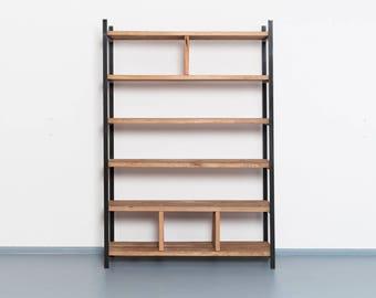 Bookshelf made from recyled timber and steel | SUSTEREN ZWART & Minimalist bookshelf | Etsy