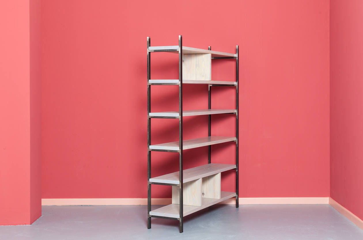 Shelf made from recyled timber and steel SUSTEREN PEARL GREY