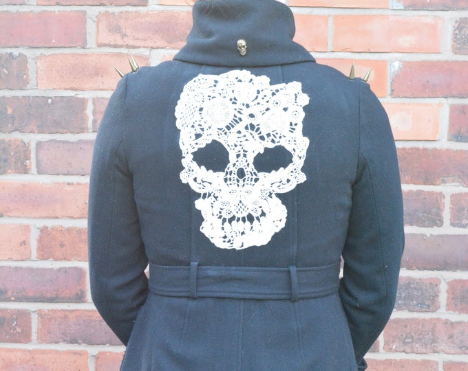 Military Style, Old Fashioned Police Style, Reworked With Skulls and Studs Navy Blue Coat. Size 8-10.