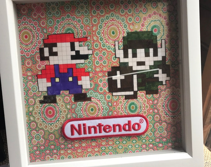 Mario and Link Nintendo White Box Frame. Decoupage and Pixel Art.