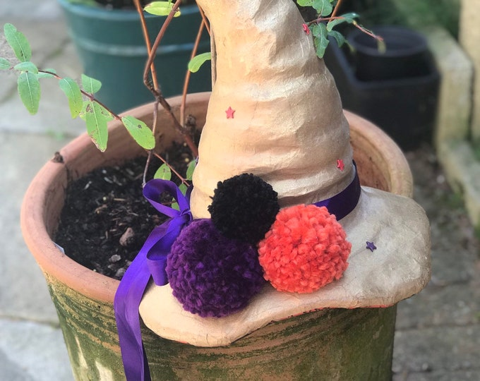 Gold and purple altar decoration Witch Hat. Hand decorated samhain, halloween, card decoration.