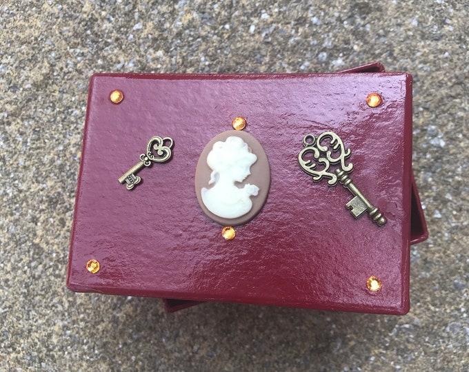Steampunk Burgundy Victoriana Small Box. Jewellery, Button, Business Card, Gift Box. Key Decoration.