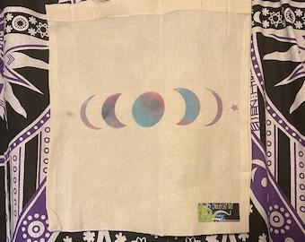 Moon Phase Galaxy Print Tote Bag. Harvesting, Herbs, Shopping.