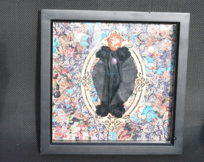 """Female Feminist LGBTQ """"Lady Garden"""". Anatomy themed artwork. Floral decoupage and leather in a box frame."""