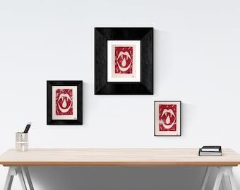 Macabre Red Vampire Teeth Lino Print. Hand Printed Card Decoration.