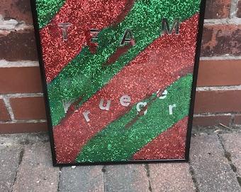 Team Krueger Glitter and Blood Splatter Picture in a Frame. Freddy Krueger, Friday 13th Themed Collage.