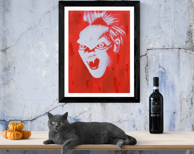 David The Lost Boys A4 Sized Print. Vampires, Cult Films, 1980's, Only Noodles.
