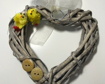 Yellow Chick and Button Wicker Mini Door Wreath. Easter Wall Hanging Gift.