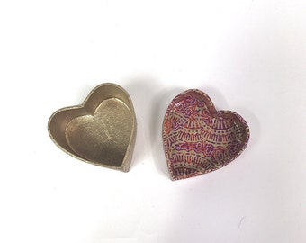 Heart Shaped Decoupage Gift Box. Extra Small. Gold and Pink Colours.