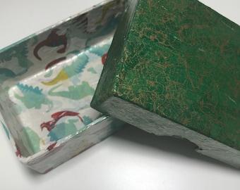 Jurassic World Dinosaur Themed Business Card Sized Box. Jewellery, Button Box. Decoupage Green Dinosaur Box.