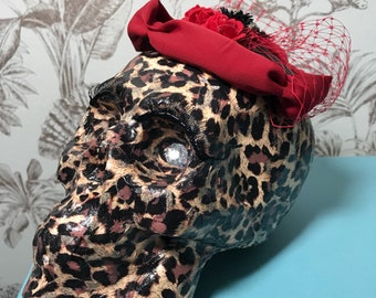 Hand Made Leopard Print Decoupage Skull Oranment with Eyelashes and Fascinator.