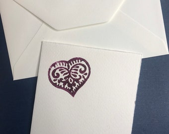 Maroon love heart valentines cards. Two designs available. Hand wood printed on rustic card with envelope.