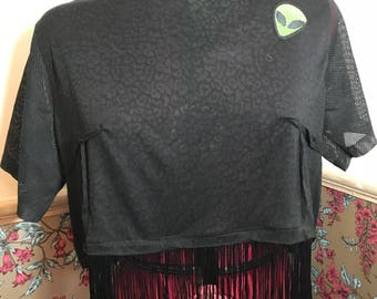 Alien Patch Black Tassel T-Shirt. Up-cycled alternative top. Size 8 oversized style.