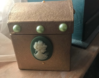 Gold and Green Shabby Chic Style Treasure Chest Small Storage Box. Victorian Steampunk Giftbox.