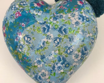 Floral Blue Large Decoupage Heart Oranment with PomPoms. Baby boy, engagement gift, heart decoration.