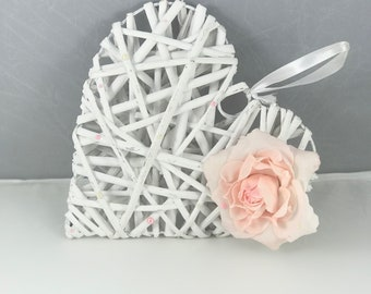 White and Pink Wicker Heart Shaped Floral Decoration. Wedding, Baby, New Home Gift.
