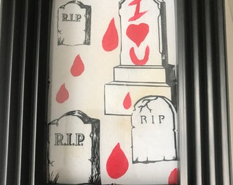 Horror I Love You Card in a Frame. Old Fashioned Looking, Fake Blood and Gravestones.