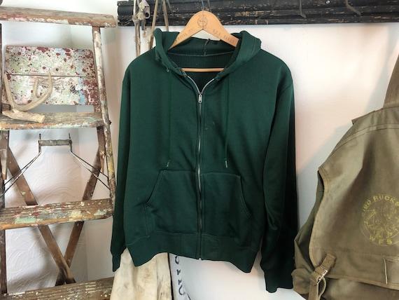 70s waffle zip up hoodie | thermal hoodie medium