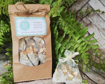 Bath tea, Christmas gift, stocking fillers, bath gift for her, bath salts, Epsom salts, Orange & Rosemary bath tea