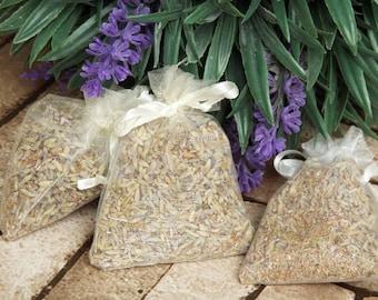 Lavender sachet, sleep aid, lavender drawer scent, wedding favours, car freshener, lavender flowers, 3 x bags
