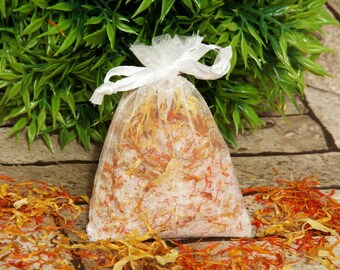 Bath salts, bath tea, Epsom salts, natural skincare, Safflower & Calendula bath tea