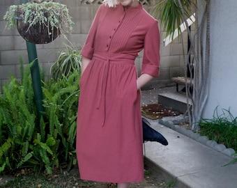 Vintage 1970s Raspberry Belted Dress