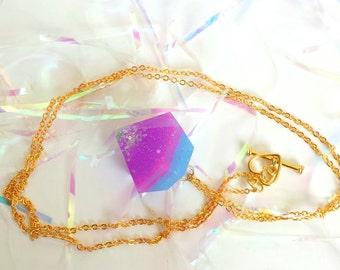 Unicorn Disco Resin Diamond Necklace