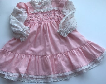 d58032b82a8c Polly flinders hand smocked 4T vintage prairie dress