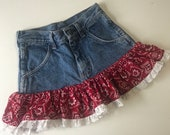 Toddler Denim Bandana Skirt,toddler denim,denim skirt,girls denim skirt,bandana,western,Jean skirt,toddler