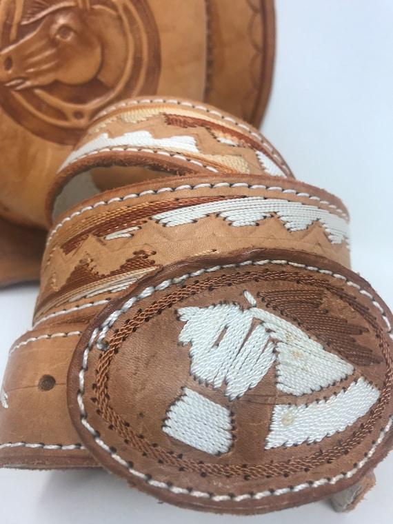 Vintage handmade leather belt,belt,leather,vintage