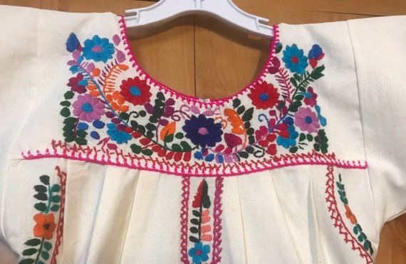 Girls Mexican Hand Embroidered dress,embroidered … - image 3